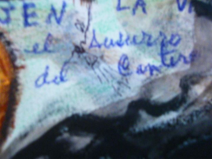 Extracto de la pintura completa La candelariay el Santo Prepucio Clara Morena, donde aparece escrito El Susurro del Cantero dedicado por la autora a Tony Cantero Suárez