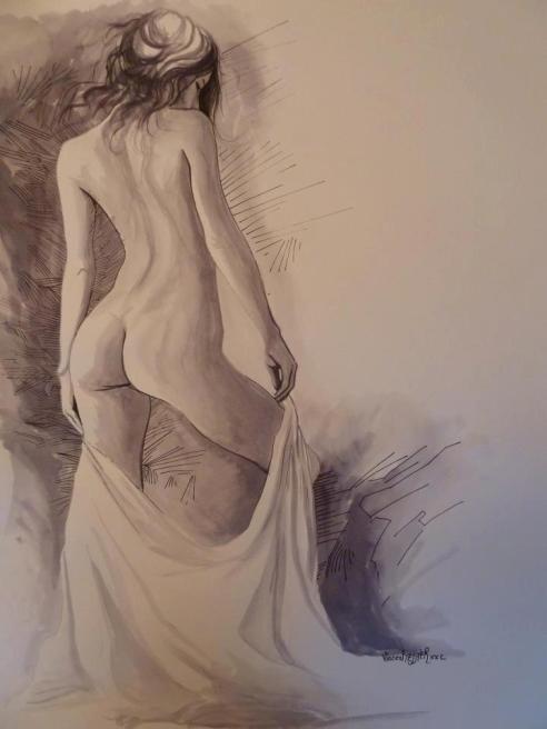 Ligne de femme, encreud'chine sur canson 65X50 by Vincent Tessier for Tony Cantero Suárez