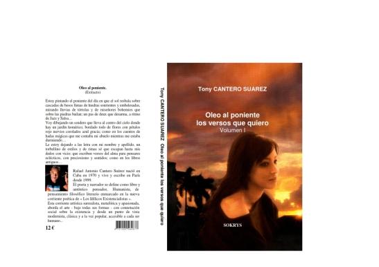 COUVERTURE OLEO AL PONIENTE LOS VERSOS QUE QUIERO DE TONY CANTERO SUAREZ - MODELE IMANE PHOTO BY MICHEL BENOIT - SOKRYS Editions.