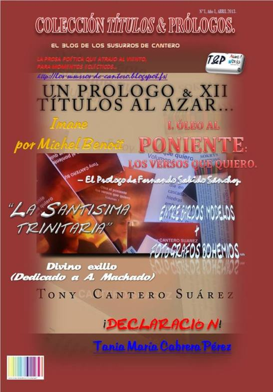 UN PROLOGO & XII TÍTULOS AL AZAR… del N° I año I, Abril 2013 de la revista literario-publicitaria T&P COLECCIÓN TÍTULOS & PRÓLOGOS Front Cover