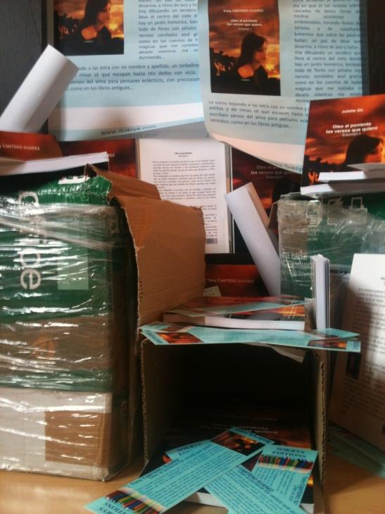 Cajas de libros, agendas, afiches, marcapáginas y fotos de Oleo al Poniente - Los versos que quiero