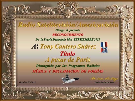 Diploma poeta destacado mes de septiembre - A pesar de Paris - Radio Satelitevisión & Americavisión fo Tony Cantero Suárez