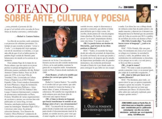 Entrevista de Tony Cantero Suárez por Zenn Ramos para la version impresa del peridico La Voz Hispana de NY