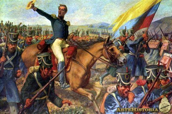 Guerra, bajo el mando de Simón Bolívar, en 1824