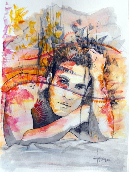 Hombre meditativo by Vincent Tessier Copyright 2014