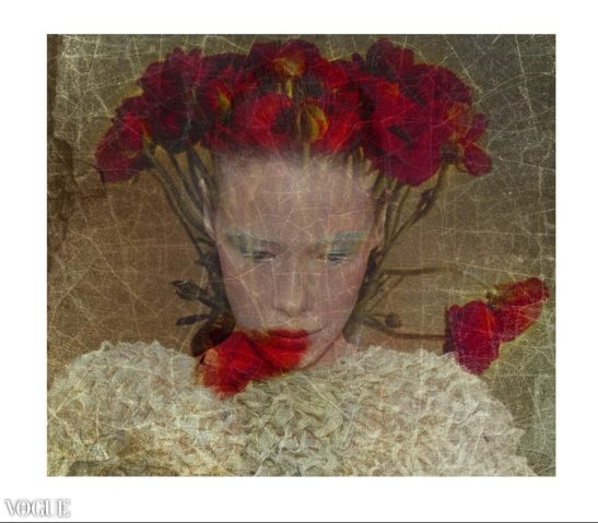 Red flowers projection - Illusion - Conservatoire du maquillage - Photo Artwork Eva Moreno BBGC-Copyright Published VOGUE ITALIA Wednesday, October 07, 2015