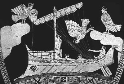 Sirenas cantando a marines en la edad antigua