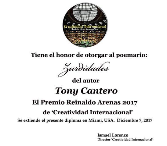 Certificado Premio Reinaldo Arenas 2017 a Zurdidades